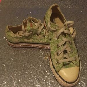 Converse All Star Green Floral Low Tops 6